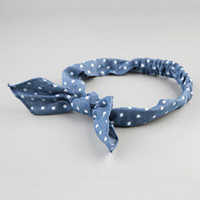 FULL TILT Polka Dot Denim Bow Headband 215868800 | Hair Accessories  | Tillys.com