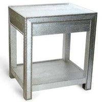 The Well Appointed House by Melissa Hawks. Silver Snakeskin Inspired Bedside Table with Nailhead Trim