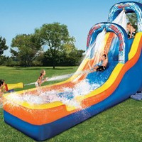 Banzai Double Drop Falls Inflatable Water Slide:Amazon:Toys & Games