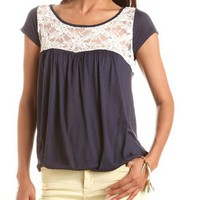 Crochet Inset Banded Bottom Top: Charlotte Russe
