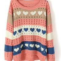 Heart Print Curved Hem Long Sleeve Sweater