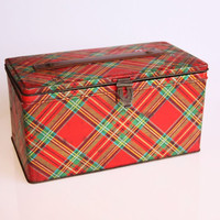 Antique Scottish tartan tin box, rustic home decor