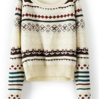 Beige Loose Tribe Long Sleeve Sweater