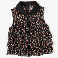 Ruffled Floral Chiffon Shirt | FOREVER21 girls - 2041472939