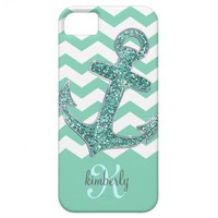 Aqua Glitter Anchor White Chevron Personalized iPhone 5 Cases from Zazzle.com
