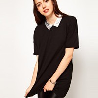 ASOS Tunic with Hologram PU Collar at asos.com