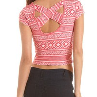 Crisscross Back Aztec Crop Tee: Charlotte Russe