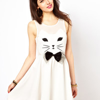 Reverse | Reverse Skater Dress With Cat Face at ASOS