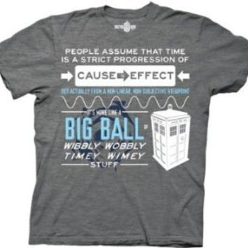 Amazon.com: Dr Who Wibbly Wobbly Quote Men's Heathered Gray T-shirt: Clothing