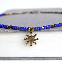 Beach Sun Charm Necklace Blue and Brown Beaded La by LOVEnLAVISH