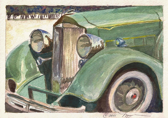 Antique Packard in Green Print of Watercolor Painting by baybeari