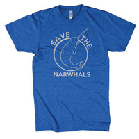 Save the Narwhals t shirt funny shirt sizes by CrazyDogTshirts