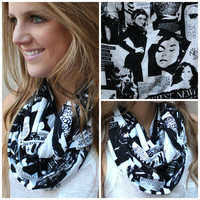 Infinity Scarf, Eternity Scarf, Loop Scarf, Fashion Scarf, Black, White
