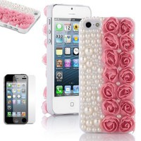 Amazon.com: Pandamimi ULAK(TM) Fashion Sweety Girls Hand Made 3D Lace Rose Flower and Bling Pearl Diamond Hard Case Cover for iPhone 5 5G Pink with Screen Protector: Cell Phones & Accessories
