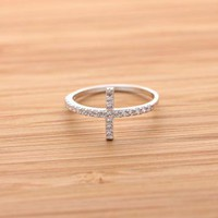 SIDEWAYS CROSS ring with crystals in silver by BLESSINGBRIDE on Zibbet