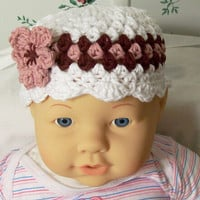 Baby Girl Hat---White , rose and burgundy with Flower-No 18--Made in the USA