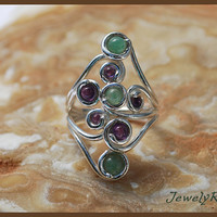 gemstone ring. amethyst ring. aventurine ring. sterling silver ring.  unique ring. long silver ring. silver band ring. purple green ring