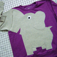 Elephant Trunk sleeve sweatshirt sweater jumper LADiES XL GRAPE