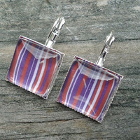 Red White Purple Earrings, Silver pierced tile type