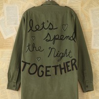 Free People Vintage Hand-Painted Military Jacket