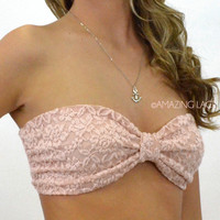 Del Mar II Blush Lace Bow Bandeau