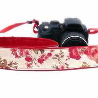 dSLR Camera Strap with roses. White and Red Camera Strap. Summer Camera Strap. Women accessories