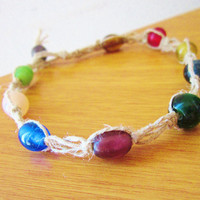 Women&#x27;s Hemp Anklet Glass Beaded Multicolored Macrame Anklet