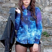 Starry Galaxy Sky Print Blouse Shirt from littlebylittle