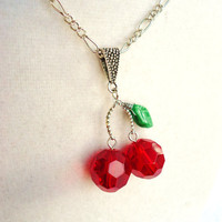 Red Cherries &amp; Leaf Necklace