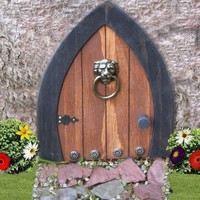 Gnome doors, Fairy Doors, Faerie Doors, Elf Doors, 9 inch with Lion K | NothinButWood - Dolls & Miniatures on ArtFire
