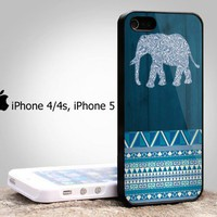 Iphone 4/4s case, iphone 5 cover with Aztec Navy Elephant Design From: bestiphone5caseshop @ artfire
