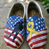 Stars & Stripes Forever Custom TOMS Shoes - Support Our Troops Theme