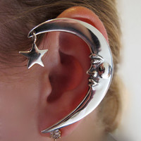 Silver Moon Ear Wrap by martymagic on Etsy