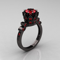 Exclusive Classic Armenian 14K Black Gold 1.0 Ruby Bridal Solitaire Ring R405-14KBGR