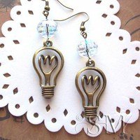 A Great Idea - Light Bulb earrings in antique bronze | EssemDesign - Jewelry on ArtFire