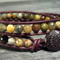 Snakeskin Agate Double Leather Wrap Bracelet, Shabby Chic, Bohemian, Gemstone Leather Bracelet, Southwest Chic Jewelry, Mothers Day Gift