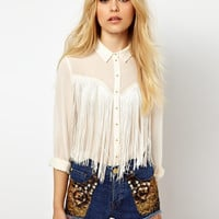 River Island Fringed Western Shirt at asos.com