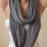 Trendy - Gray Striped Infinty Scarf  - Circle -  Loop Scarf - Combed Cotton Fabric
