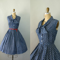 Vintage 1950s Dress  Blue Polka Dot Party Dress  by Sweetbeefinds