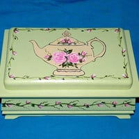 Elegant Tea Box Wood Tea Chest Organizer Hand Painted Mint Green Personalized Custom Victorian Tea Pot Roses