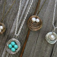 Wire Wrapped Bird's Nest Necklace