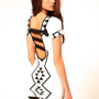 White Body-Con Dress with Black Aztec Print &amp; Cutout Back