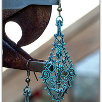 Vintage Lace Trinity Brass Drop Filigree Earrings