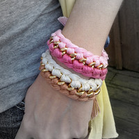Fuschia and Pink Interwoven Fiber Chain Bracelet