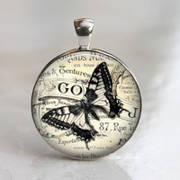 Vintage butterfly print round glass necklace keychain