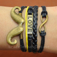 Ancient bronze infinity bracelet ,love bracelet ,beard bracelet with leather and cotton ropes bracelet friendship  d-332