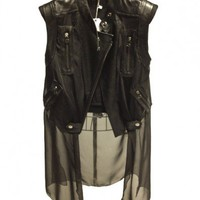 Leather Look Gilet with Sheer Chiffon Train