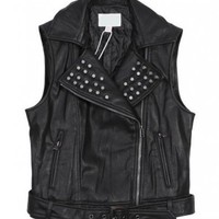 Leather Look Studded Gilet