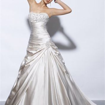 Romantic Strapless Natural Waist Taffeta A-line Small Train Wedding Dress WD1972
