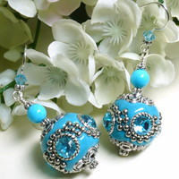 Tibetan Resin Bead and Turquoise Sterling Silver Dangle Earrings
